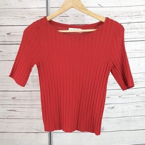 Tory Burch red ribbed short sleeve fitted knit top